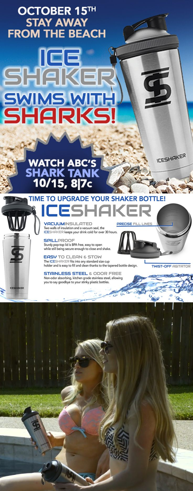 Ice Shaker is taking on the Shark Tank! Watch on ABC on October 15th as the best shaker bottle on the market tries to land a deal.  Ice Shaker CEO Chris Gronkowski and his brothers Gordie, Dan, Rob and Glenn Gronkowski all team up to show why Ice Shaker's kitchen grade stainless steel bottle and shaker cup is worth an investment.