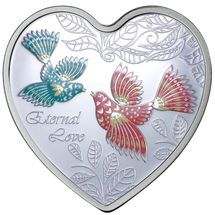 2013 Messages of Love - Eternal Love silver heart-shaped Cook Islands coin from Treasures of Oz