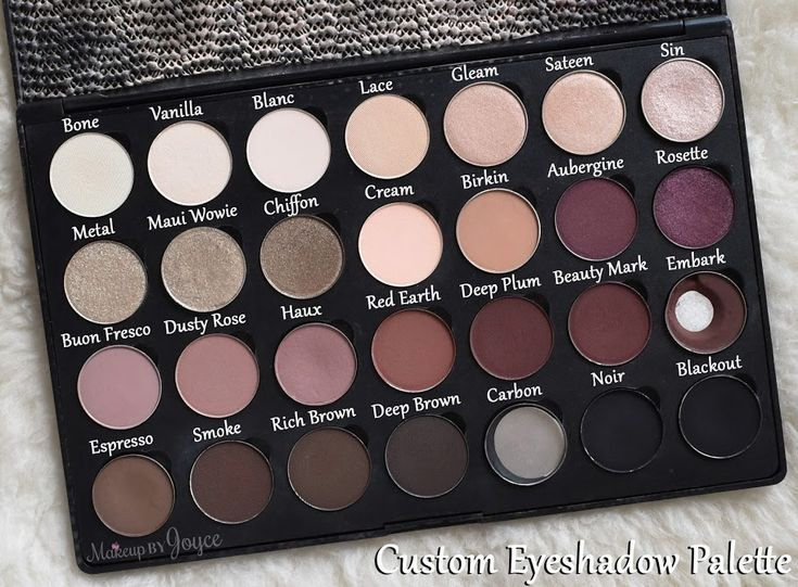 Custom Eyeshadow Palette - Sin, Maui Wowie and Blackout are from Urban Decay. Haux, Embark, Espresso and Carbon are from MAC. The rest are from Anastasia Beverly Hills.