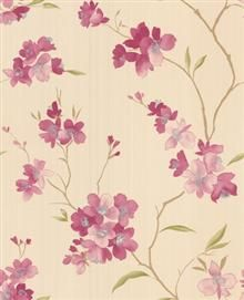 Graham and Brown Spirit Wallpaper-Enthrall Foral 50-030 Pink/Cream