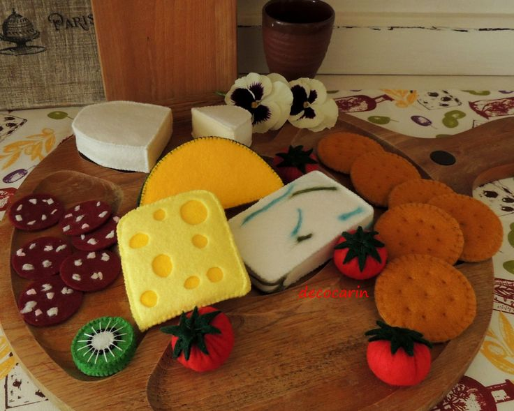 Felt Food Cheese Platter featuring: Crackers, Salami, Assorted Cheeses, Tomatoes, Kiwi and Cantaloupe ............................................................. by decocarin | Etsy