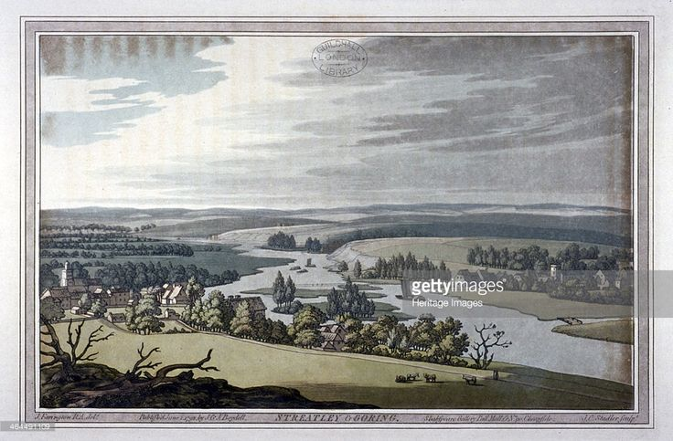 View of Streatley and Goring in Berkshire and Oxfordshire, 1793. The two vilages stand on opposite banks of the Thames.