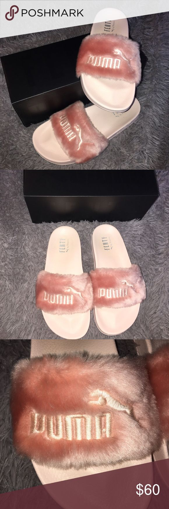 Pink Fenty Puma furry Slippers These are Pink Fenty Puma slippers by Rihanna . They have pink fur on the top ,and they are in great condition. My mom ordered these and they didn't fit her . They have been worn once and are in good condition . It comes with the box that I bought my Fenty slides in. Puma Shoes Slippers