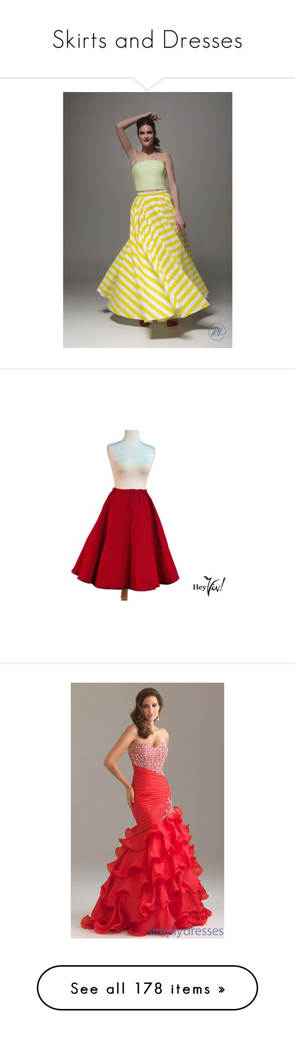 """Skirts and Dresses"" by eridans-blood-swapped-pants ❤ liked on Polyvore featuring skirts, women's clothing, yellow, long maxi skirts, long skater skirt, yellow skirt, yellow maxi skirt, long skirts, dresses and red beaded dress"