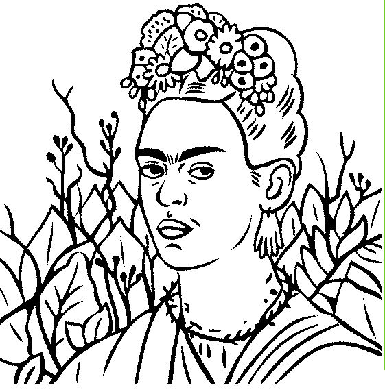free coloring page of frida kahlo painting self portrait with thorn necklace you be the master painter color this famous painting and many more