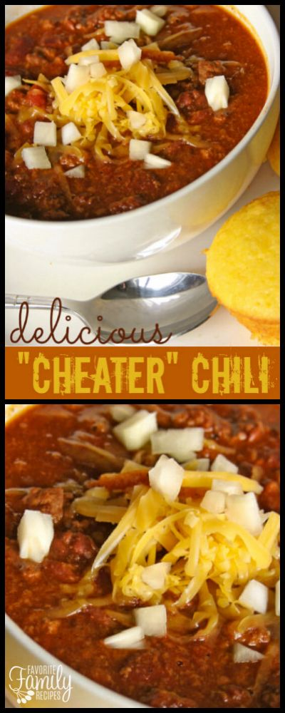 Our Mom's Cheater Chili recipe makes cooking a pot of homemade chili simple and fast. The ground beef, onions, and tomatoes make it a hearty meal. via @favfamilyrecipz