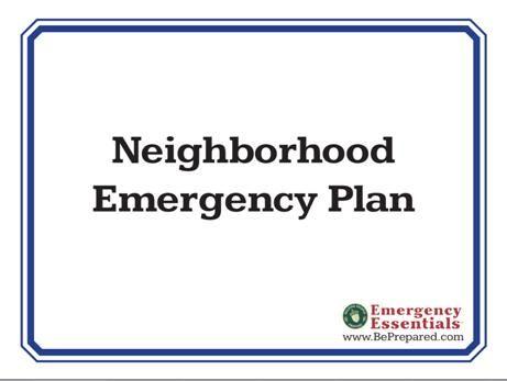 Neighborhood Emergency Plan Packet (printable)