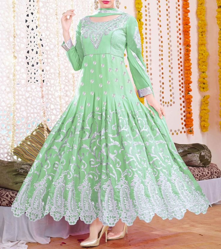 Green Embroidered Georgette Semi Stitched Anarkali