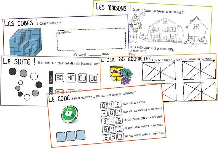 Enigmes cycle 3 (un peu dur) mais choses intéressantes comme maisons (D, G...), suite de nombres, code logique