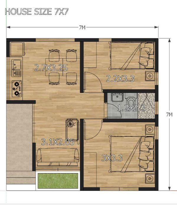 Small House Design Plans 7x7 With 2 Bedrooms House Plans 3d In 2020 Small House Design Plans Two Bedroom House Design Beautiful House Plans