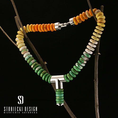 RAINBOW- naszyjnik ze srebra i howlitu Biżuteria Naszyjniki stobieckidesign