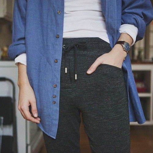 isabel marant sweatpants + brooks brothers shirt