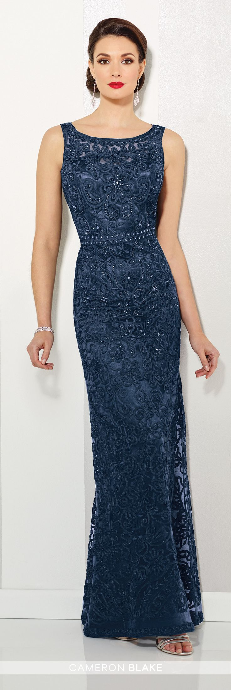 Cameron Blake - 115604 -Sleeveless ribbon on tulle slim A-line gown with illusion curved bateau neckline and illusion back, hand-beaded high waistline, slightly flared skirt, Matching shawl included.NEW Colors: Navy Blue, PetalSizes: 4 – 20Colors: Navy Blue, Silver, Petal, Jade, Black