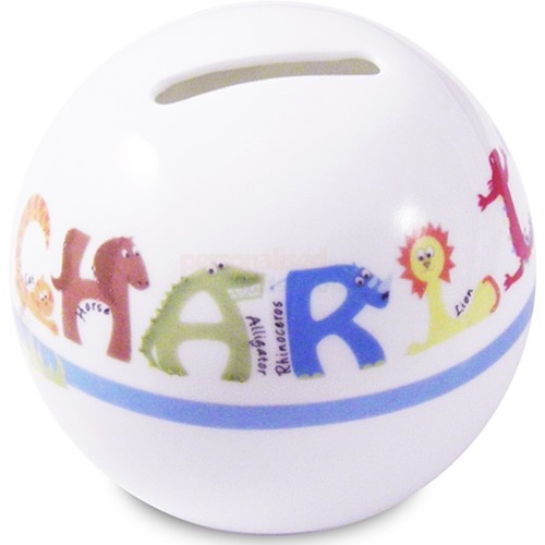 Personalised Money Box for Boys - Animal Alphabet  from Personalised Gifts Shop - ONLY £14.95