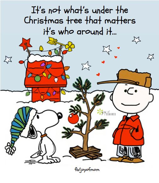 Charlie Brown Christmas. It's not what's under the Christmas tree that matters; it's who's around it...: