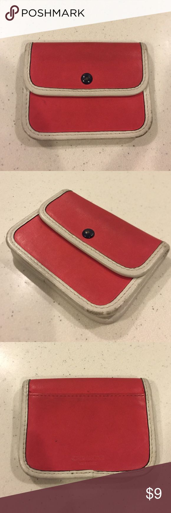 Coach Legacy Two Tone Card Case Coral/White Coach Legacy Two Tone Card Case Coral/White. Button and overall case have obvious signs of wear and dirt. Interior has a pocket and the back has another pocket. No rips or tears. Price reflects condition. Coach Bags Wallets