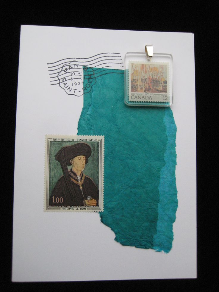 Tom Thomson pendant and French stamp.