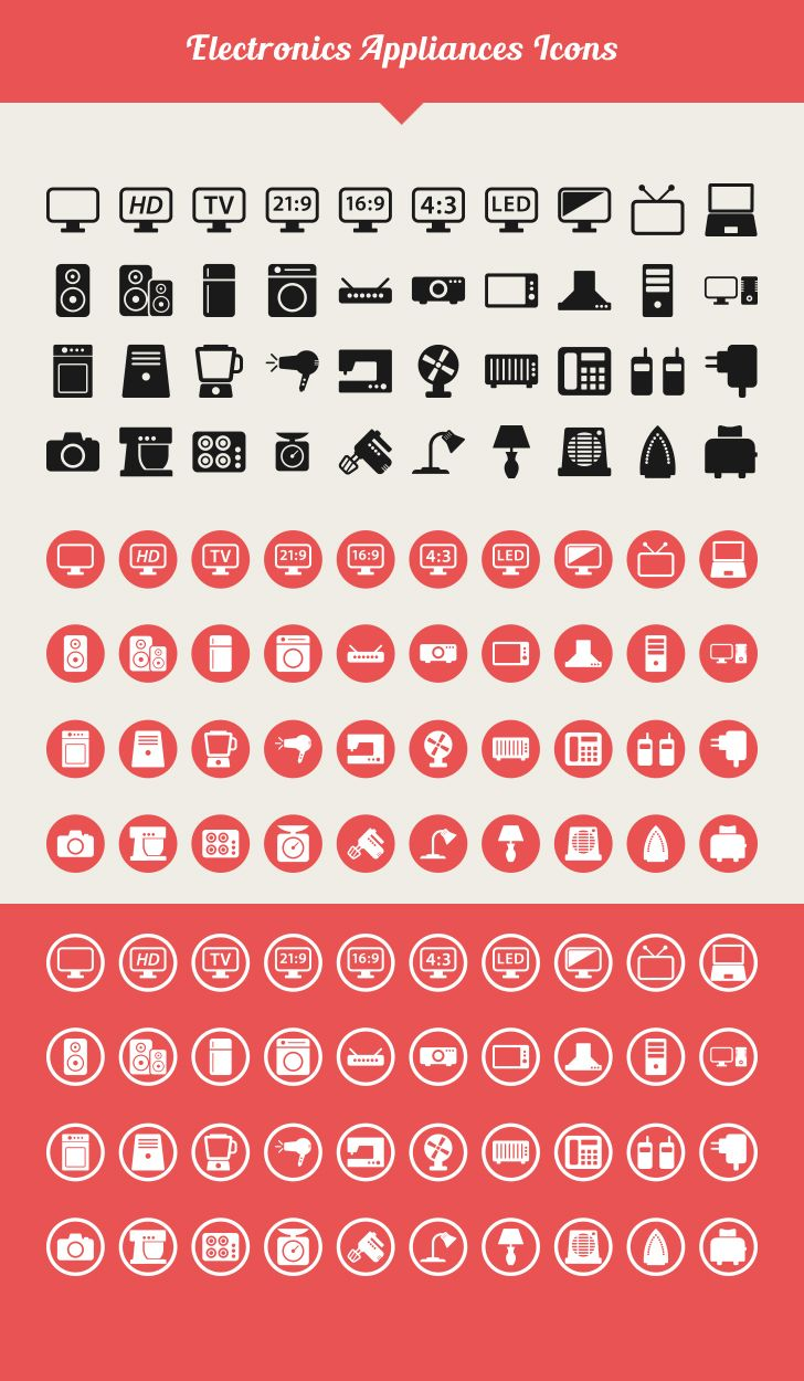 Electronic Appliances Vector Icons