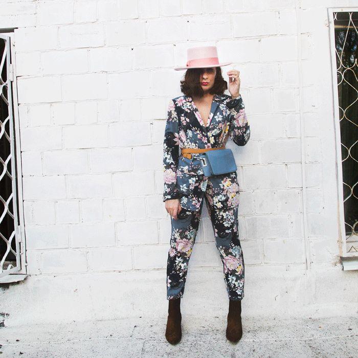 I'm wearing Oasis blazer and pants, & Other stories bag, Lack of Colour hat / #spring #floral #pinkhat #lackofcolour #floralblazer #pyjamatrend
