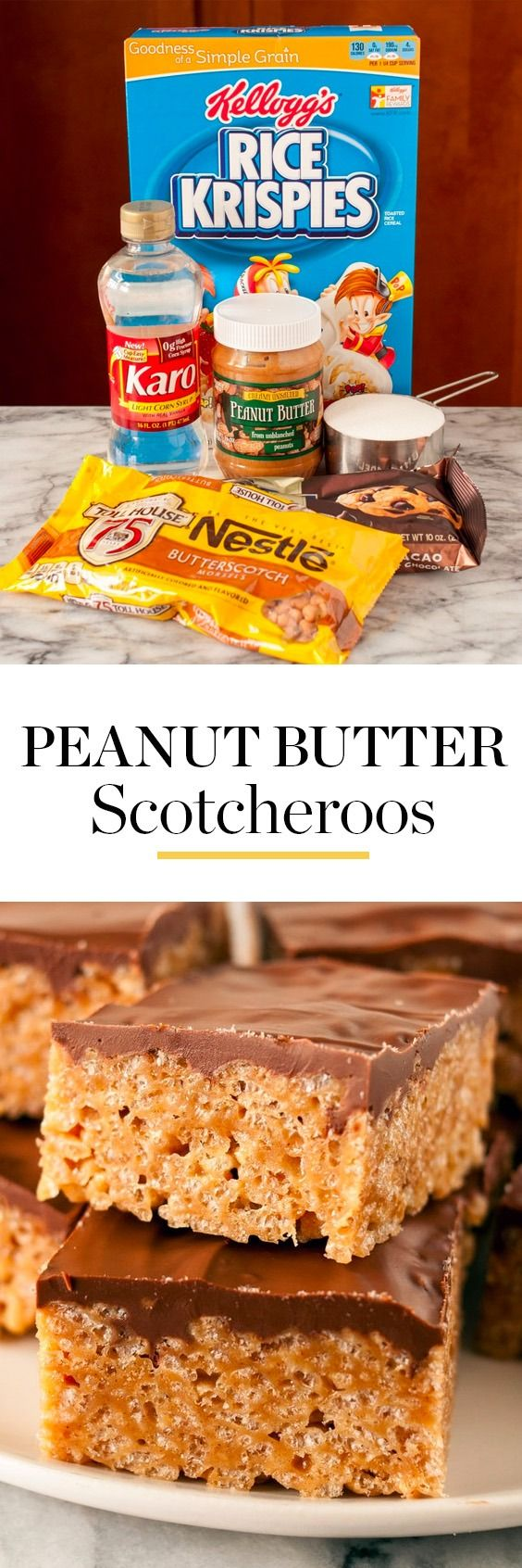 The BEST Peanut Butter Scotcheroos Recipe. Made with rice krispies (or chex, special k, cornflakes, or cheerios), semi sweet chocolate chips, butterscotch chips, corn syrup, and peanut butter. These soft, gooey, chewy no bake sweets are perfect for holidays or parties! Perfect if you're looking for ideas for classic desserts that are fun for families with kids to make together.