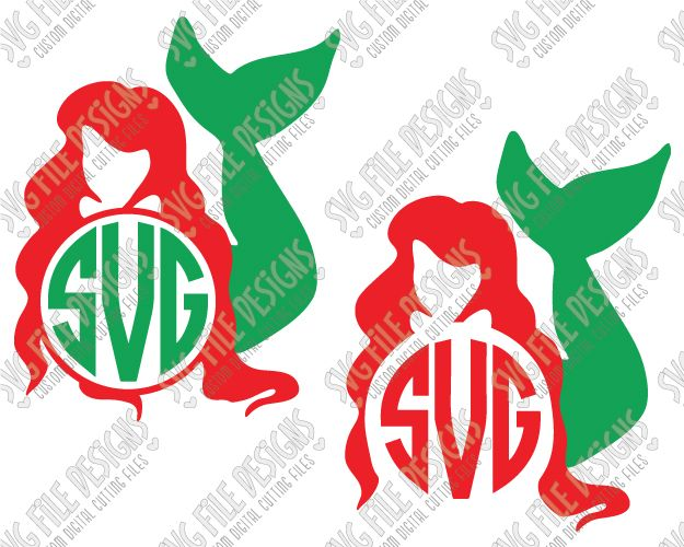 Ariel Disney Little Mermaid Monogram SVG Cut File Set in SVG, EPS, DXF, JPEG, and PNG for Cricut, Silhouette, and Brother ScanNCut Machines