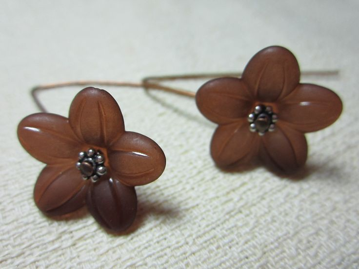 Lucite flower drops with antique copper earwires