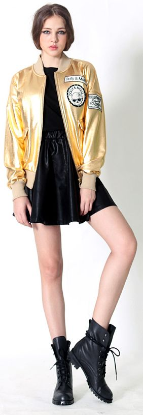 Winter Rocker :  with Metallic Jumper, Camouflage Pocket Tee, Leather Flare Skirt | Fall & Winter | all by Dolly & Molly | www.dollymolly.com | #lookbook #boots #metallic #golden #silvery #shiny #hairstyle #elegant #girly #pose #aw #nyfw #fashionsweek #backstage