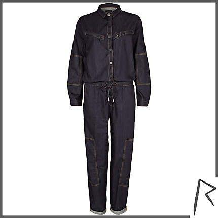 #RihannaforRiverIsland Dark wash Rihanna denim jumpsuit. #RIHpintowin click here for more details >  http://www.pinterest.com/pin/115334440431063974/