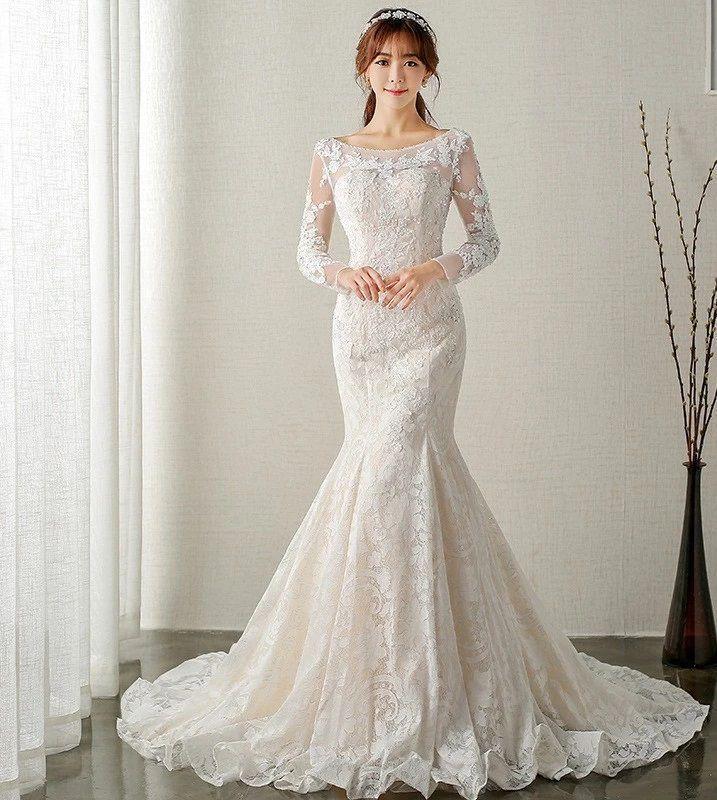 10 Best Long Sleeve Wedding Dresses Ball For Petite Brides In 2020 Long Sleeve Mermaid Wedding Dress Backless Lace Wedding Dress Wedding Dress Long Sleeve