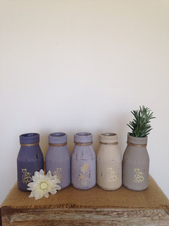 Set of 5 Rustic Bottles Painted & Distressed by ColourRustique