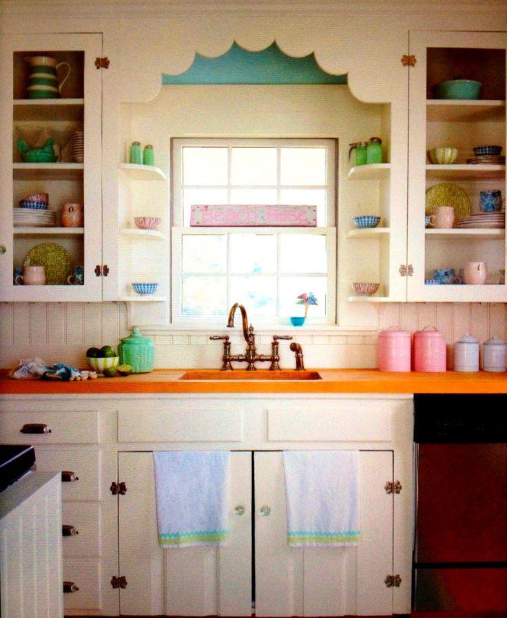 Cottage Style Kitchen Scallops Cabinets Pastel Ideas Cottages