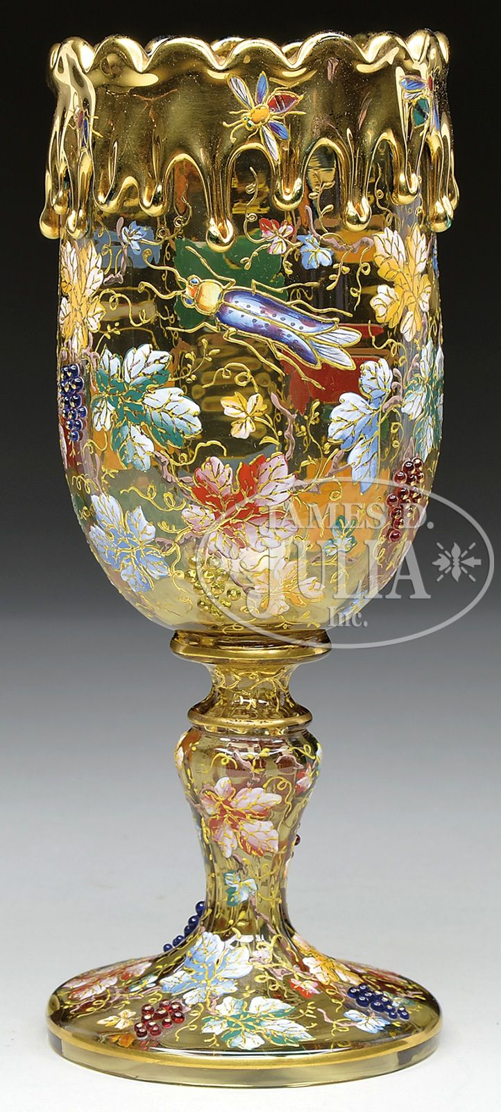 MOSER DECORATED CHALICE.Chalice is pictured in the book Moser Glass The Klabin Collection by Gary D.Baldwin, pg.77 plate 92.