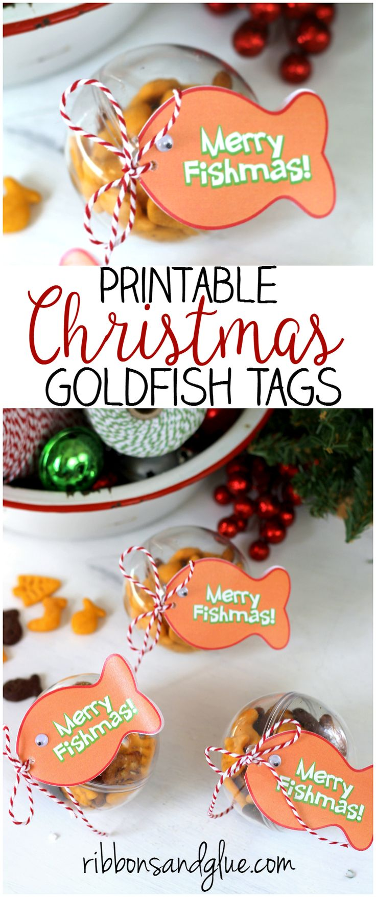 Goldfish Christmas Ornament Tag Printable. Fill up plastic ornaments with Goldfish crackers and attach tag. Easy Christmas Kids Craft Idea. #SpreadCheer #ad @target