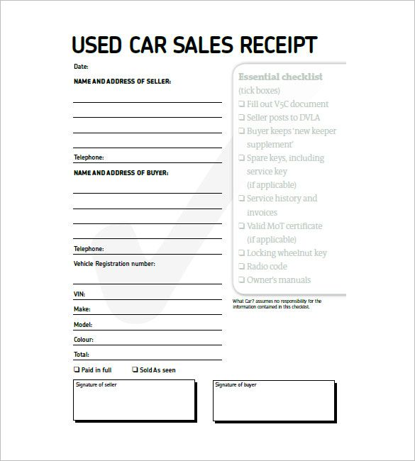 10 Car Receipt Templates Free Printable Word Excel