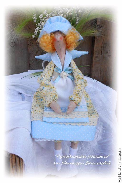Купить Лидия, домашний ангел - голубой, кукла ручной работы, кукла в подарок, кукла интерьерная