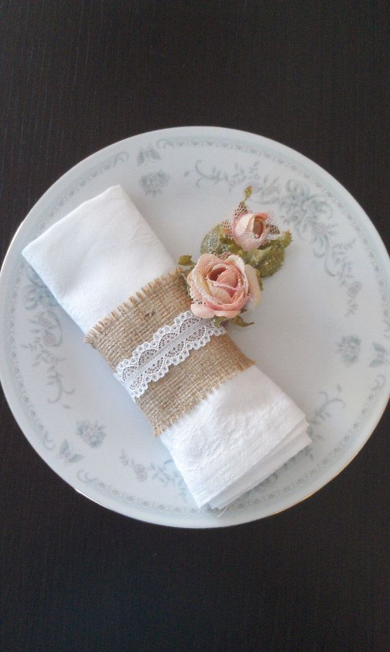 Burlap Napkin Holder  Burlap Serviette Holder by AJRUSTICCREATIONS