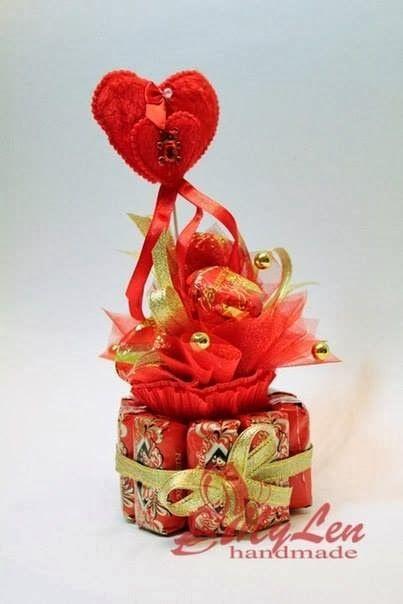 Arreglo con dulces para san valentin manualidades - Dulces de san valentin ...