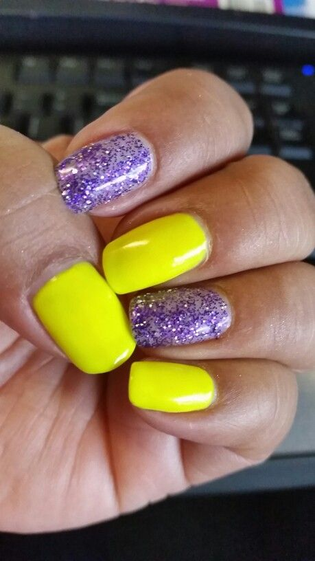 Purple glitter n yellow gel nails | Nail Art | Pinterest