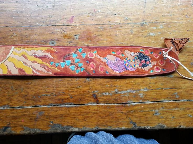 Unique Handmade Guitar Strap in Veg Tanned Leather, Hand Tooled and Painted with Pickpocket <3