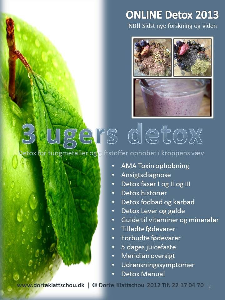 3 ugers detox, AMA Toxin ophobning, Ansigtsdiagnose, Detox faser I og II og III, Detox historier, Detox fodbad og karbad, Detox Lever og galde, Guide til vitaminer og mineraler, Tilladte fødevarer, Forbudte fødevarer, 5 dages juicefaste, Meridian oversigt, Udrensningssymptomer, Detox Manual