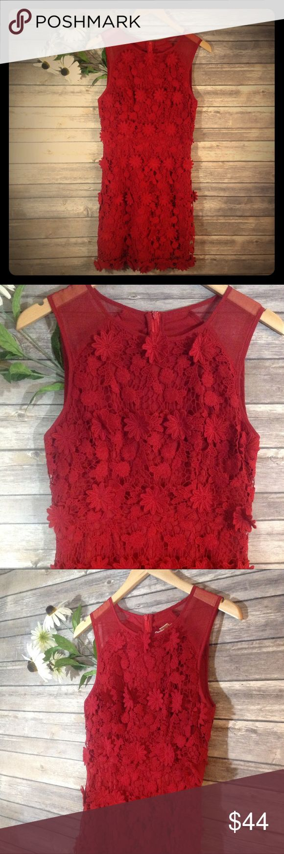 Urban Outfitters Bella Rosa Daisy Crochet Dress This dress is called Bella Rosa and it's by Thistle Pearl for Urban Outfitters. It is the perfect deep red for fall. This dress has mesh shoulder straps and the rest of the dress is an open knit crochet with floral appliqués all over! So cute and 3-D! Has a back zipper and is fully lined. In Great used condition. Size 2. Urban Outfitters Dresses Mini