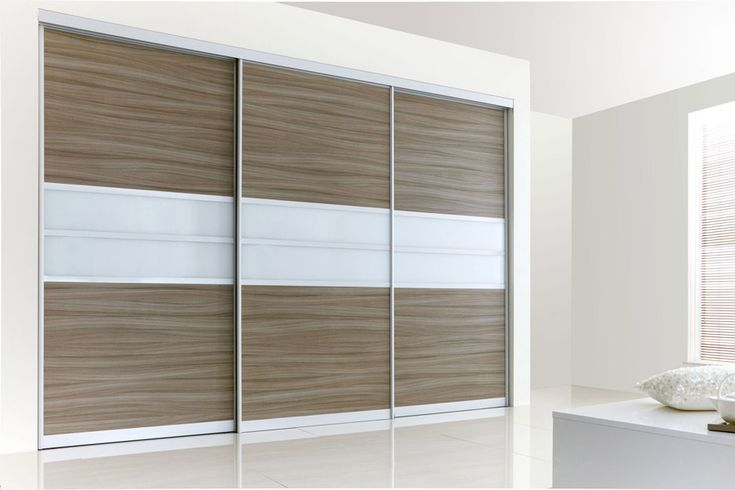 Fine Edge Satin Silver Frame with Driftwood & White Glass. Design your own Sliding Wardrobe Doors here: http://www.diyhomefit.co.uk/bedrooms/sliding-wardrobe-doors-designer.html