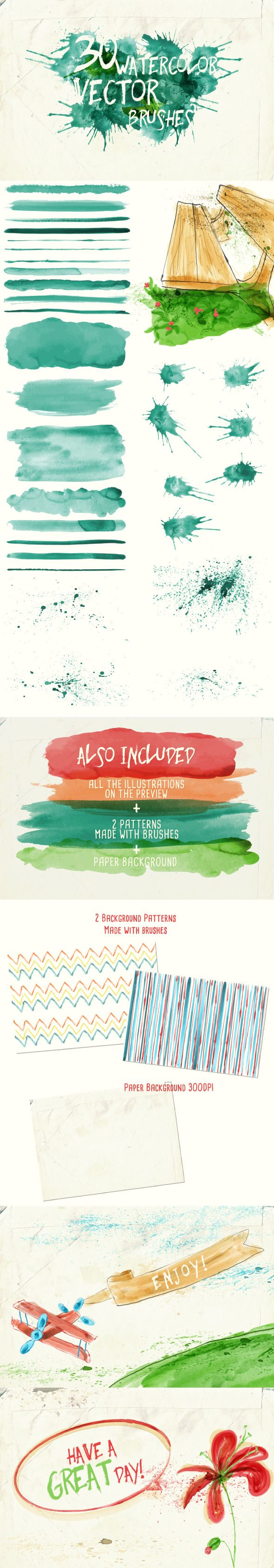Watercolor Vector Art Brushes for Adobe Illustrator #design #ai Download: http://graphicriver.net/item/watercolor-vector-art-brushes/9845118?ref=ksioks