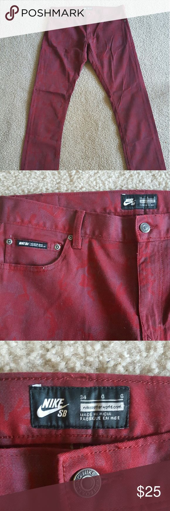 Nike SB Mens Pants - Size W34 New, never worn men's Nike SB (Skateboard) Pants. Dark red, camo print, slim fit. Size W34.  Make me an offer! Nike Jeans Slim