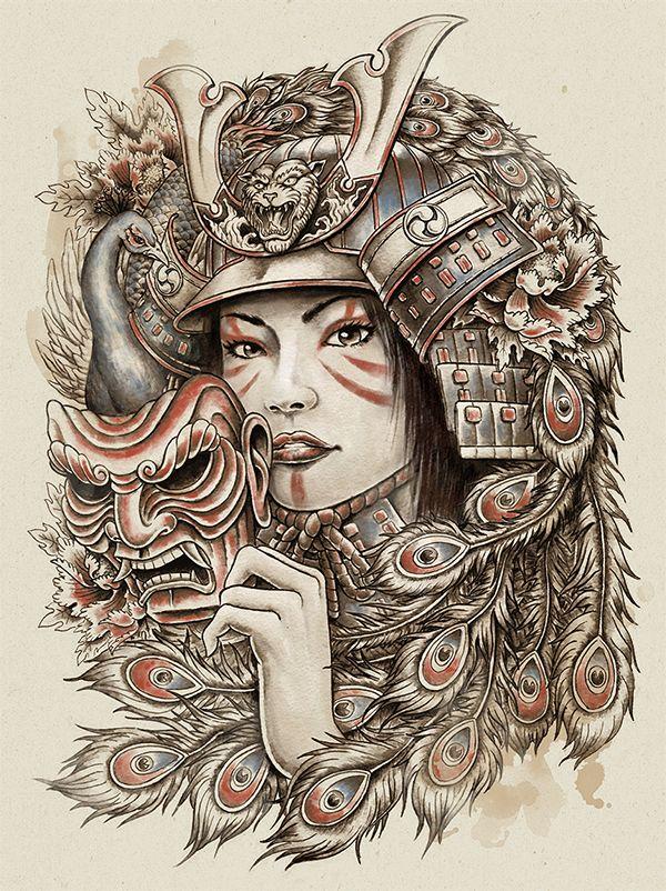 Peacock samurai by Michael Hinkle