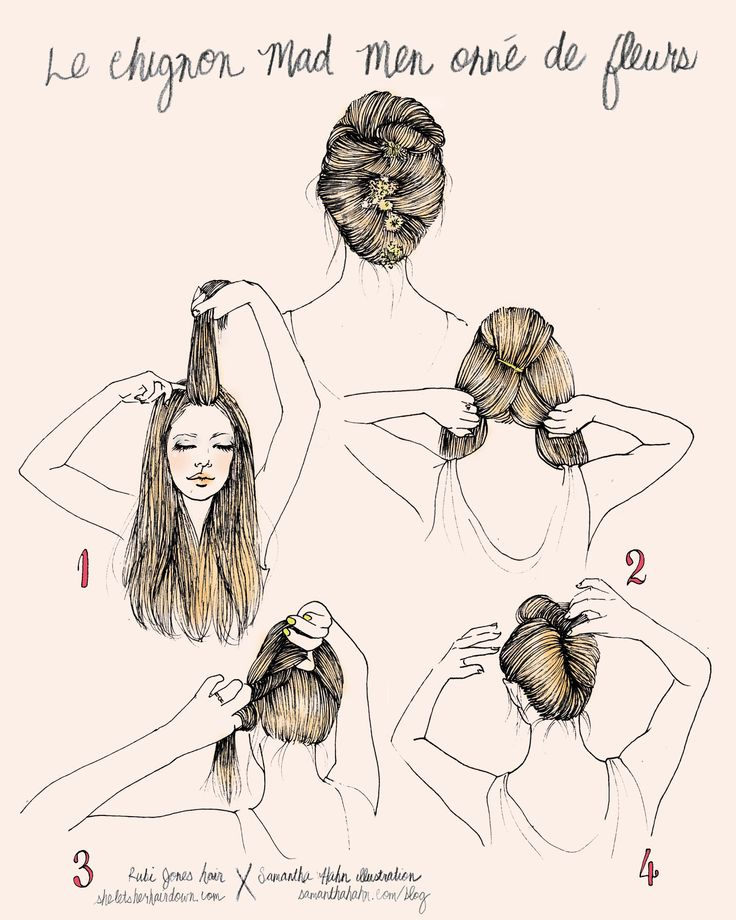 Rubi Jones X Samantha Hahn illustrative hair how-to's: chignon madmen avec fleurs