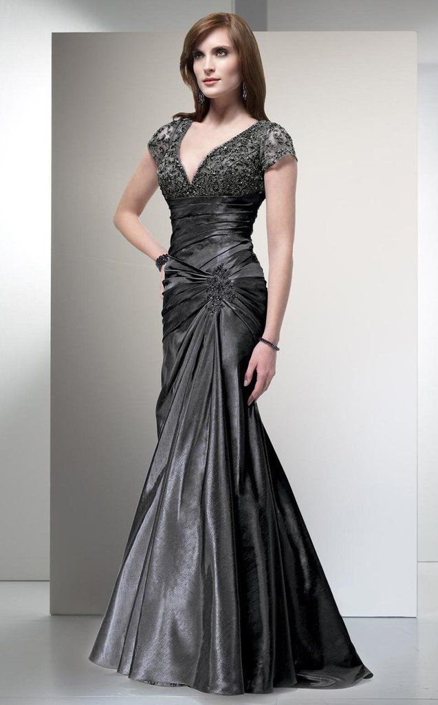 Alyce Paris - 29357 Cap Sleeve Lace Ornate Empire Trumpet Gown - 2 ...