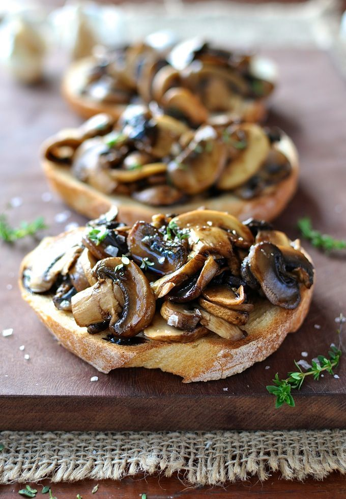 Mushroom balsamic and thyme bruschetta