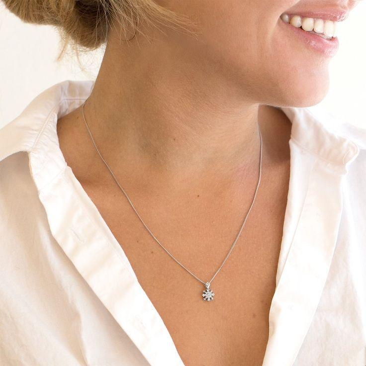 Christina Snow Flake White Gold Diamond Necklace