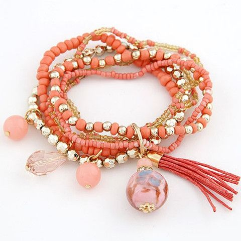 New 2014 Fashion Bohemian Style Gold Beads Crystal Charms Bracelets Bangles  for Women Men Jewelry loom -in Chain & Link Bracelets from Jewel.